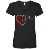 Rainbow Heartbeat Love Shirt Gay Pride black v-neck tshirt for women
