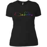 Pride Stethoscope Style Shirt for Women LGBT Pride Nurse Logo black Tshirt for Womens