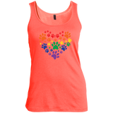 Rainbow Paw Print Love orange tank top for women