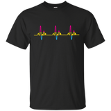 LGBT Pride Pansexual Heartbeat black tshirt for Men