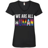We Are All Human black T Shirt for women, half sleeves v neck tshirt for women