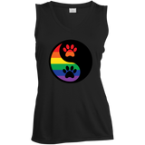 Rainbow Paw Yin Yang Pet black sleeveless Shirt For women LGBT Pride Tshirt for Women