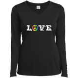 Love Peace Gay Pride long sleeves v-neck tshirt for women