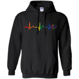 Rainbow Heartbeat black color LGBT Pride sweatshirt for men