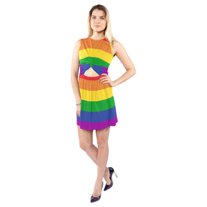 Rainbow Ladies Sleeveless Cutout Waist Knotted Dress