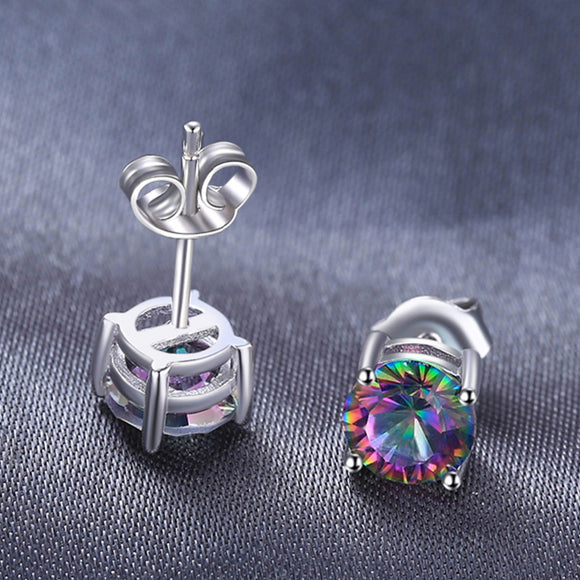 Mystic Rainbow Topas Earrings Stud 925 Sterling Silver