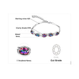 Mystic Rainbow Topaz Bracelet Genuine 925 Sterling Silver Women