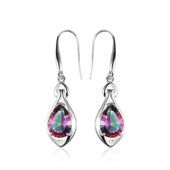 Rainbow Fire Mystic Topaz Dangle Earrings Pure 925 Sterling Silver