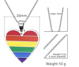 Pride Rainbow Stainless Steel Heart Necklace