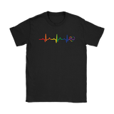 LGBT Pride Heartbeat black tshirt for men