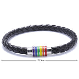 Gay Pride Leather Bracelet - 2 Style