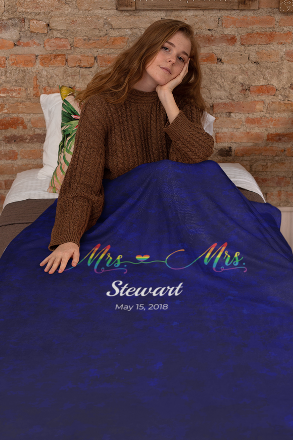 Personalized Mrs. and Mrs. Blanket with Name and Date