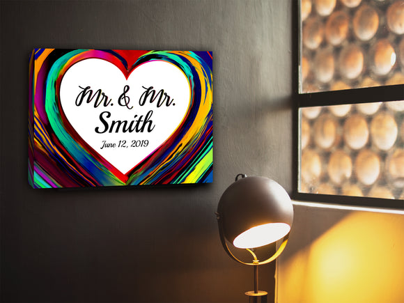 Personalized Rainbow Pride Heart Mr. & Mr. Canvas