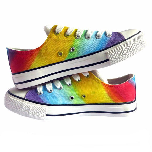 Breathable Rainbow Hand Painted Canvas Shoes