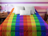 Rainbow Pride Checkered Pattern Fleece Blanket