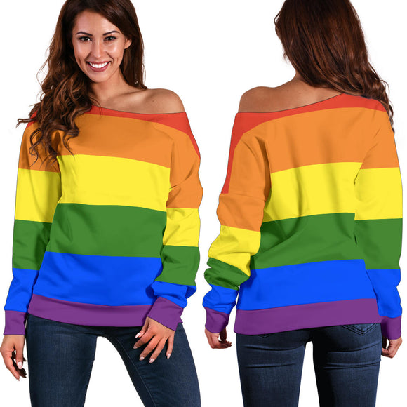 Rainbow Pride Off Shoulder Sweater