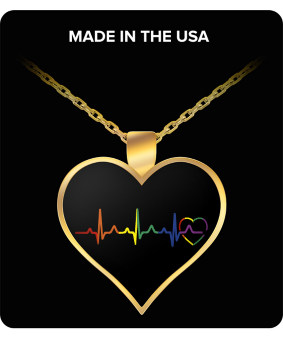 Rainbow Heartbeat Necklace (Black)