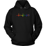 Pride Heartbeat black Hoodie for men & women