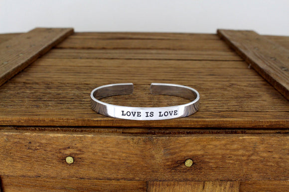Love is Love Equality Bracelet - Aluminum Adjustable Bracelet