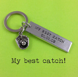 """My Best Catch"" Hand Stamped Keychain"