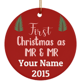 LGBT Pride Special - First Christmas As Mr and Mr Ceramic Circle Ornament Gift For Married Gay Couple, Unique Christmas Ornament