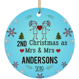 Personalized LGBT Pride Mrs and Mrs Ceramic Circle Christmas Ornament Gift For Lesbian, Gay Couple - Pink Color