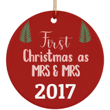 LGBT Pride Special - First Christmas As Mrs and Mrs Ceramic Circle Ornament Gift For Married Couple, Unique Christmas Ornament For Wife