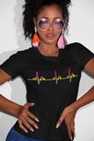 LGBT Pride Pansexual Heartbeat black tshirt for women