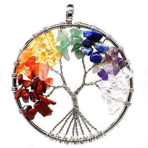 Natural Rainbow Stone Tree of Life Pendulum Healing Crystal Pendant, Keychain