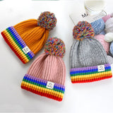 Toddler Kids Winter Ribbed Knit Hat Rainbow Stripes Pompom Beanie Cap
