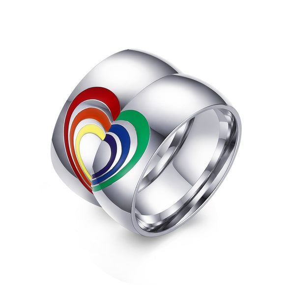 LGBT Matching Couple Rings Heart Shaped