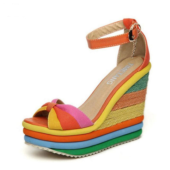 Rainbow Thick Sole Sponge High Heels