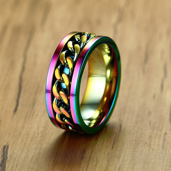Rainbow Pride Chain Spinner Ring