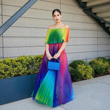 Off Shoulder Rainbow Color Elegant Women Dress Chiffon Summer Maxi Dress  A-line Floor Length Femme Pleated Dress