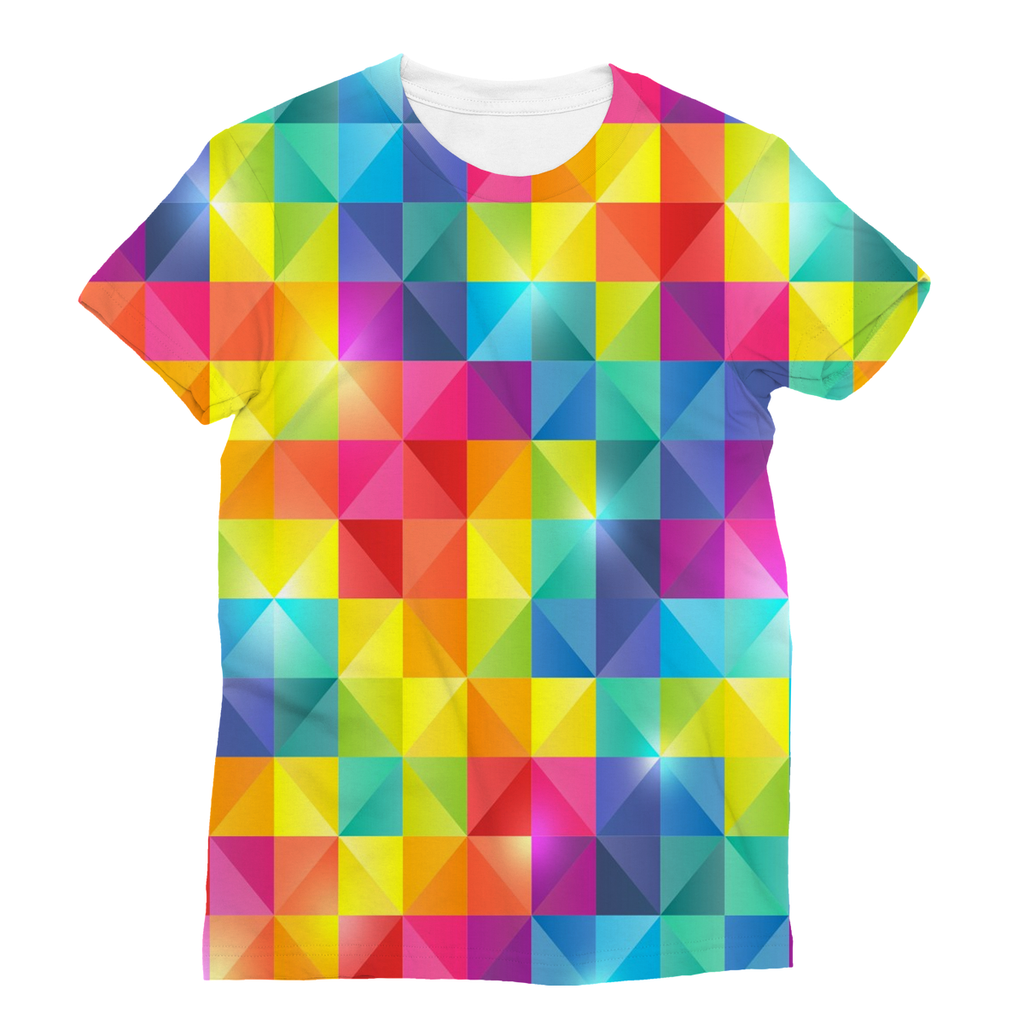 all over print vibrant rainbow color gay pride t shirt - Rainbow Color