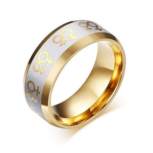 Ring - Gold Plated Lesbian Pride Wedding / Engagement Ring
