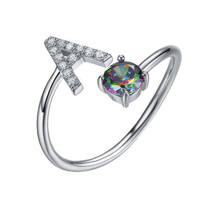 Rainbow Topaz Gemstone 925 Sterling Silver Ring with Initials