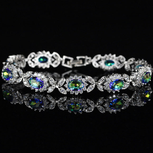 Rainbow Fire CZ Crystal Bracelet