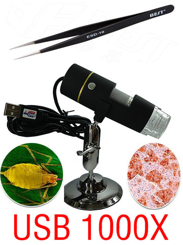 Portable Digital USB microscope with up to 1000X zoom