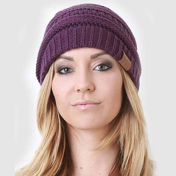 NEW SOLID RIDGED KNIT BEANIE