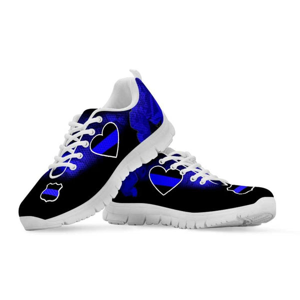 Blue Line Heart Women's Sneakers