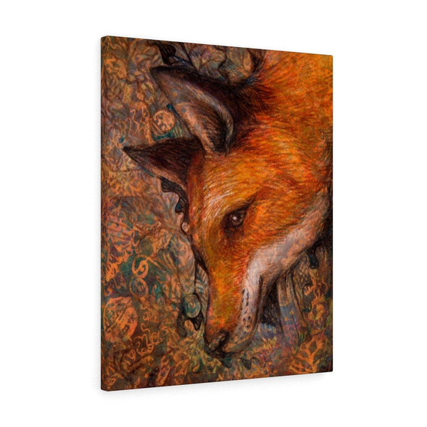 Rustic Fox Stretched Canvas Print
