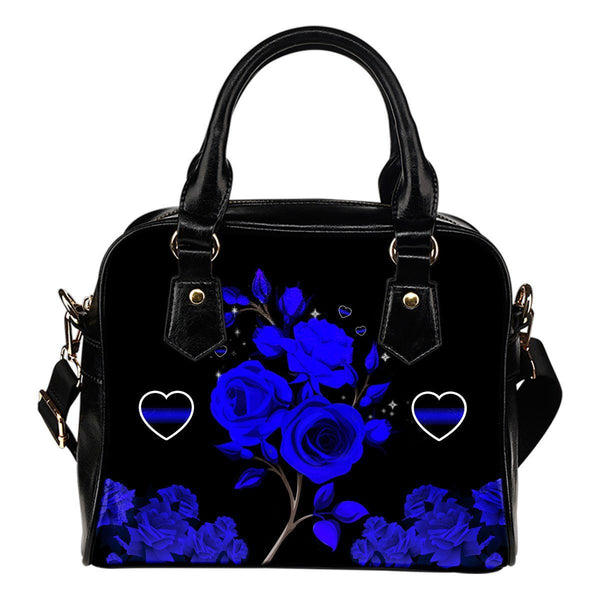 Blue Line Rose Shoulder Handbag