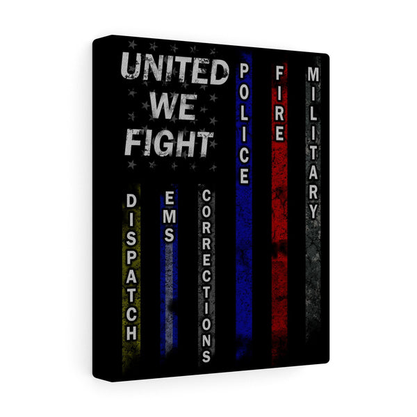 United We Fight Blue Line Canvas Art Print