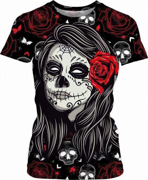 Sugar Rose Skull Womens T shirt