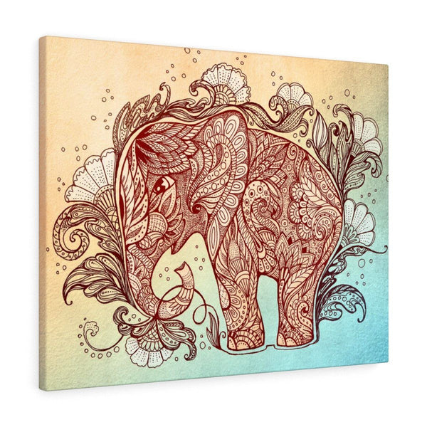 Ethnic Elephant Stretched Canvas Print