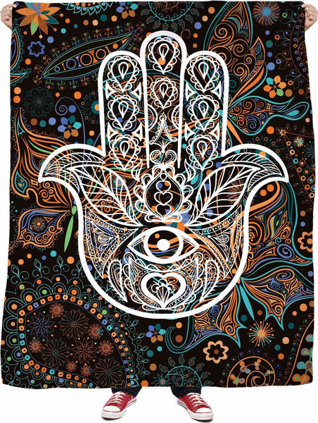 Electric Hamsa Yoga Fleece Blanket