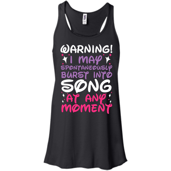Warning I May Burst Into Song Flowy Racerback Tank