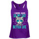 Work Hard Cat Better Life Juniors Racerback
