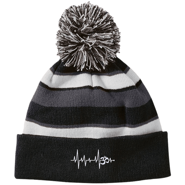 Om Heartbeat Striped Beanie with Pom
